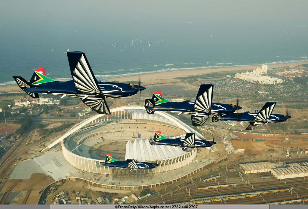 Silver Falcons over the Moses Mabhida Stadium during the Durban Airshow.